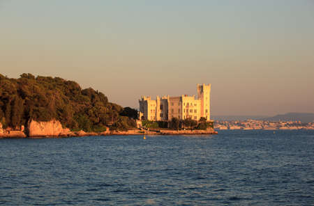 View of Miramare castle at sunset, Trieste