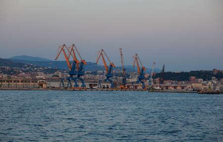 trieste: View of Crane in Trieste harbor, Italy