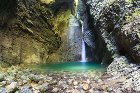 Kozjak waterfall (Slap Kozjak) - Kobarid,  Julian Alps in Slovenia Stock Photo - 15035195