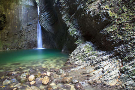 Kozjak waterfall (Slap Kozjak) - Kobarid,  Julian Alps in Slovenia Stock Photo - 15035200