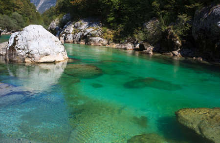 View of Soca river in Slovenia, Europe Imagens