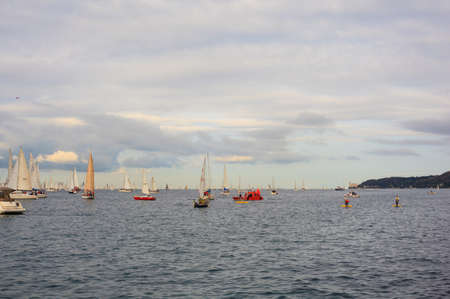 TRIESTE, ITALY - 14 OCTOBER 2012: In the minutes before the start of Barcolana regatta in Trieste sea,  northern part of the Adriatic Sea. About 2000 boats and thousands of sailors from all over the world took part in the race.  Stock Photo - 15792732