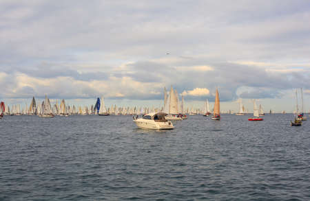 TRIESTE, ITALY - 14 OCTOBER 2012: In the minutes before the start of Barcolana regatta in Trieste sea,  northern part of the Adriatic Sea. About 2000 boats and thousands of sailors from all over the world took part in the race.  Stock Photo - 15792736