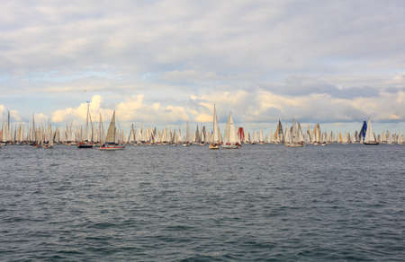 TRIESTE, ITALY - 14 OCTOBER 2012: In the minutes before the start of Barcolana regatta in Trieste sea,  northern part of the Adriatic Sea. About 2000 boats and thousands of sailors from all over the world took part in the race.  Stock Photo - 15792740