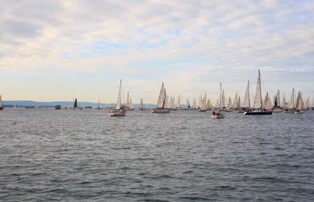 TRIESTE, ITALY - 14 OCTOBER 2012: In the minutes before the start of Barcolana regatta in Trieste sea,  northern part of the Adriatic Sea. About 2000 boats and thousands of sailors from all over the world took part in the race.  Stock Photo - 15792730