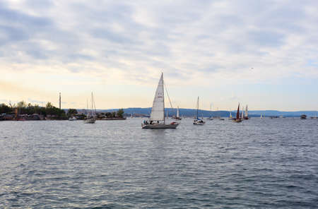 TRIESTE, ITALY - 14 OCTOBER 2012: In the minutes before the start of Barcolana regatta in Trieste sea,  northern part of the Adriatic Sea. About 2000 boats and thousands of sailors from all over the world took part in the race.  Stock Photo - 15792729
