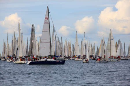 TRIESTE, ITALY - 14 OCTOBER 2012: In the minutes before the start of Barcolana regatta in Trieste sea,  northern part of the Adriatic Sea. About 2000 boats and thousands of sailors from all over the world took part in the race.  Stock Photo - 15792748