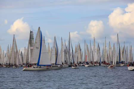 TRIESTE, ITALY - 14 OCTOBER 2012: In the minutes before the start of Barcolana regatta in Trieste sea,  northern part of the Adriatic Sea. About 2000 boats and thousands of sailors from all over the world took part in the race.  Stock Photo - 15792753