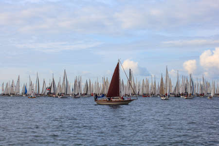 TRIESTE, ITALY - 14 OCTOBER 2012: In the minutes before the start of Barcolana regatta in Trieste sea,  northern part of the Adriatic Sea. About 2000 boats and thousands of sailors from all over the world took part in the race.  Stock Photo - 15792747