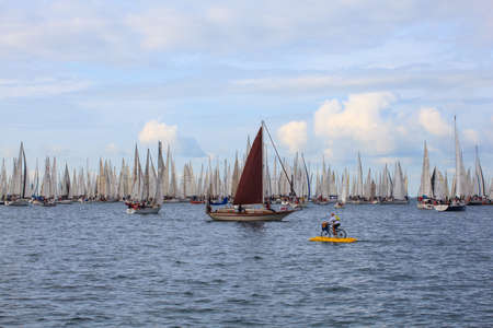 TRIESTE, ITALY - 14 OCTOBER 2012: In the minutes before the start of Barcolana regatta in Trieste sea,  northern part of the Adriatic Sea. About 2000 boats and thousands of sailors from all over the world took part in the race.  Stock Photo - 15792741