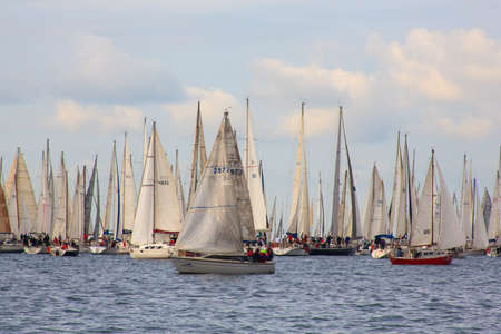 TRIESTE, ITALY - 14 OCTOBER 2012: In the minutes before the start of Barcolana regatta in Trieste sea,  northern part of the Adriatic Sea. About 2000 boats and thousands of sailors from all over the world took part in the race.