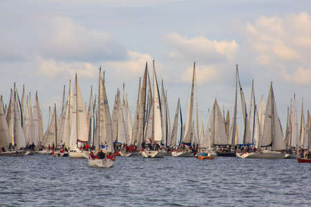 barcolana: TRIESTE, ITALY - 14 OCTOBER 2012: In the minutes before the start of Barcolana regatta in Trieste sea,  northern part of the Adriatic Sea. About 2000 boats and thousands of sailors from all over the world took part in the race.