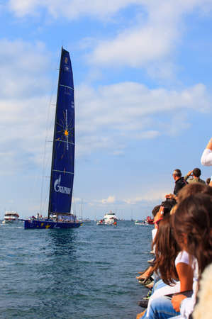 TRIESTE, ITALY - 14 OCTOBER 2012: Esimit Europa 2 boat winner of the 44° Barcolana regatta in Trieste sea,  northern part of the Adriatic Sea. About 2000 boats and thousands of sailors from all over the world took part in the race.  Stock Photo - 15792724