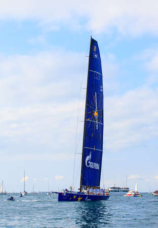 TRIESTE, ITALY - 14 OCTOBER 2012: Esimit Europa 2 boat winner of the 44° Barcolana regatta in Trieste sea,  northern part of the Adriatic Sea. About 2000 boats and thousands of sailors from all over the world took part in the race.  Stock Photo - 15792711