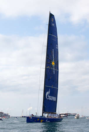 TRIESTE, ITALY - 14 OCTOBER 2012: Esimit Europa 2 boat winner of the 44° Barcolana regatta in Trieste sea,  northern part of the Adriatic Sea. About 2000 boats and thousands of sailors from all over the world took part in the race.  Stock Photo - 15792709