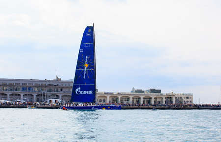 TRIESTE, ITALY - 14 OCTOBER 2012: Esimit Europa 2 boat winner of the 44° Barcolana regatta in Trieste sea,  northern part of the Adriatic Sea. About 2000 boats and thousands of sailors from all over the world took part in the race.  Stock Photo - 15792714