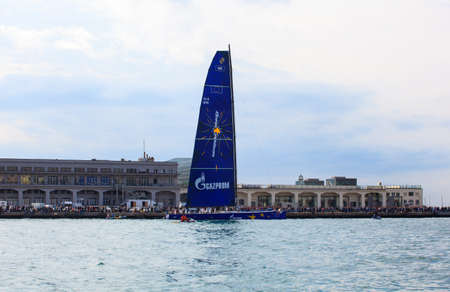 barcolana: TRIESTE, ITALY - 14 OCTOBER 2012: Esimit Europa 2 boat winner of the 44° Barcolana regatta in Trieste sea,  northern part of the Adriatic Sea. About 2000 boats and thousands of sailors from all over the world took part in the race.