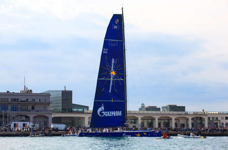 TRIESTE, ITALY - 14 OCTOBER 2012: Esimit Europa 2 boat winner of the 44° Barcolana regatta in Trieste sea,  northern part of the Adriatic Sea. About 2000 boats and thousands of sailors from all over the world took part in the race.  Stock Photo - 15792718