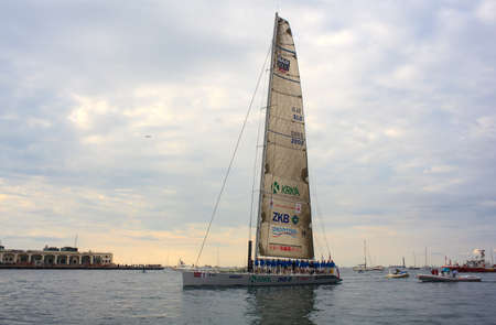 TRIESTE, ITALY - 14 OCTOBER 2012: Maxi Jena boat, second place of the 44° Barcolana regatta in Trieste sea,  northern part of the Adriatic Sea. About 2000 boats and thousands of sailors from all over the world took part in the race.  Stock Photo - 15792722