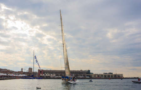 TRIESTE, ITALY - 14 OCTOBER 2012: Maxi Jena boat, second place of the 44° Barcolana regatta in Trieste sea,  northern part of the Adriatic Sea. About 2000 boats and thousands of sailors from all over the world took part in the race.  Stock Photo - 15792712