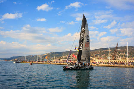 TRIESTE, ITALY - 14 OCTOBER 2012: Aniene 1A Classe Lino Sonego Tutti x AIS, fourth place of the 44° Barcolana regatta in Trieste sea,  northern part of the Adriatic Sea. About 2000 boats and thousands of sailors from all over the world took part in the r Stock Photo - 15792754
