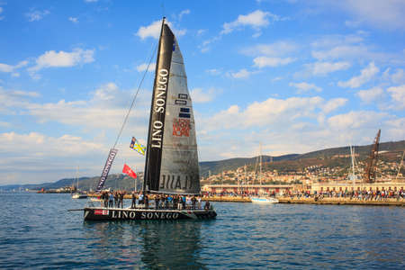 TRIESTE, ITALY - 14 OCTOBER 2012: Aniene 1A Classe Lino Sonego Tutti x AIS, fourth place of the 44° Barcolana regatta in Trieste sea,  northern part of the Adriatic Sea. About 2000 boats and thousands of sailors from all over the world took part in the r Stock Photo - 15792756