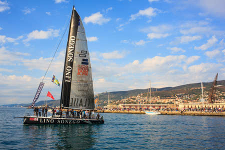 barcolana: TRIESTE, ITALY - 14 OCTOBER 2012: Aniene 1A Classe Lino Sonego Tutti x AIS, fourth place of the 44° Barcolana regatta in Trieste sea,  northern part of the Adriatic Sea. About 2000 boats and thousands of sailors from all over the world took part in the r