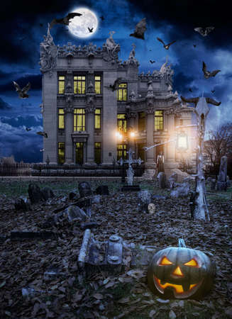 haunted house: Halloween Stock Photo