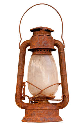 Old rusty lantern isolated on white background photo