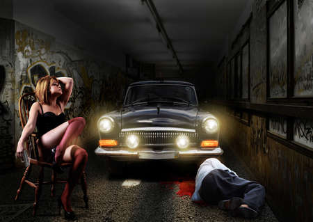 Crime scene, Sexy woman killed man in an underground tunnel photo
