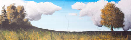Landscape, trees and cloudy sky - Paint on canvas photo