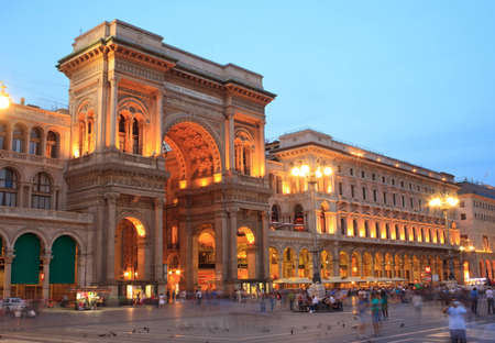 View at sunset of Vittorio Emanuele II gallery in Milan, Italy