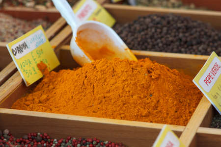 Curcuma and other spices, Street market in Trieste photo