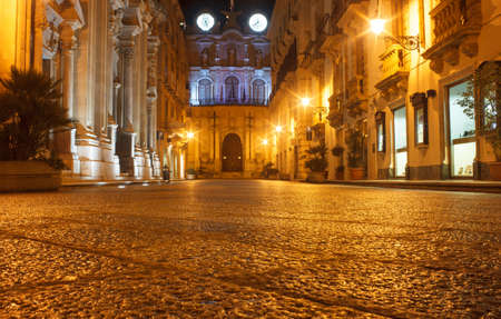 trapani: View of Trapani at night, Sicily - Italy Editorial