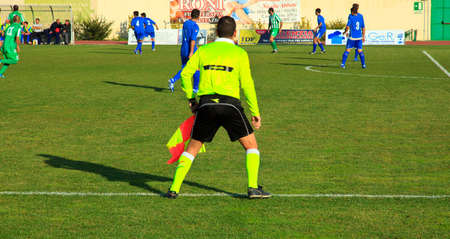 linesman: Photo of a Linesman during a soccer match