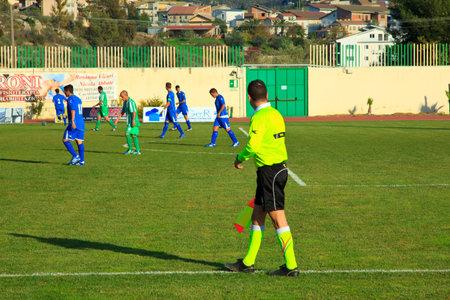 soccer match:   Linesman during a soccer match