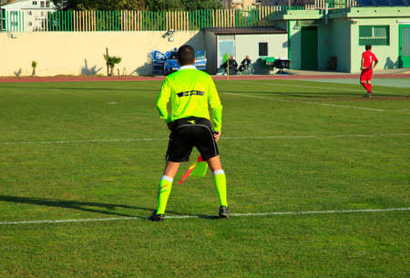 linesman:  Linesman during a soccer match