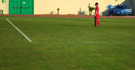 soccer match: Goalkeeping during a soccer match