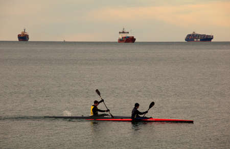 Rowing team on the Trieste sea, Italy