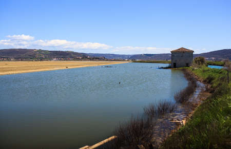 evaporation: View of Salt evaporation ponds in Secovlje, Slovenia