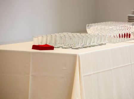View of Many glasses on the table photo