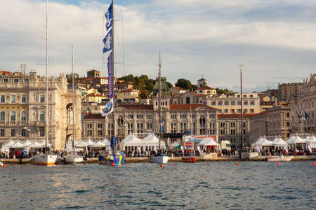 barcolana: TRIESTE, ITALY - 11 OCTOBER 2013   View of Trieste during the time of 45  Barcolana regatta on October 11, 2013