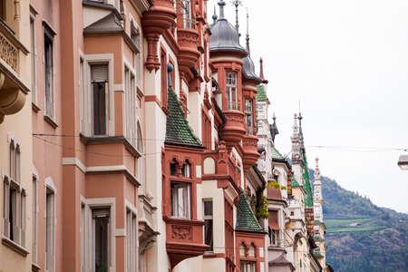 sudtirol: Buildings in via cassa di risparmio, Bolzano Stock Photo