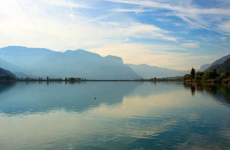 sud tirol: View of Caldaro lake in Trentino Alto Adige, Italy