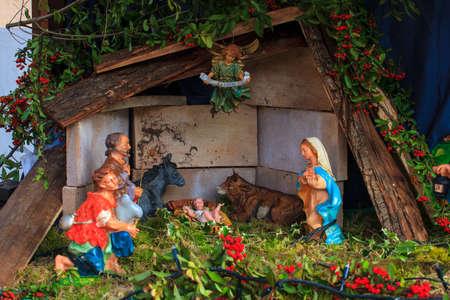 View of the nativity scene for italian christmas decoration photo