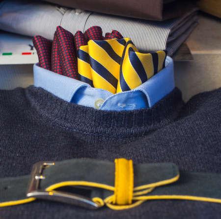Close up of men's clothes, pullover necktie