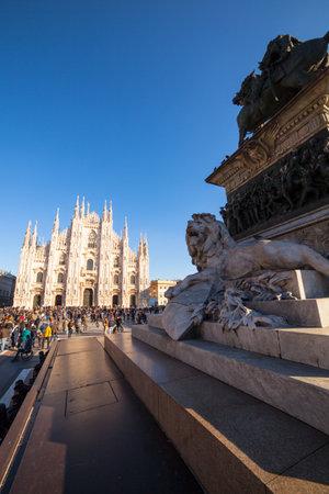 vittorio emanuele: Vittorio Emanuele II monument in Piazza Duomo, Milan Editorial