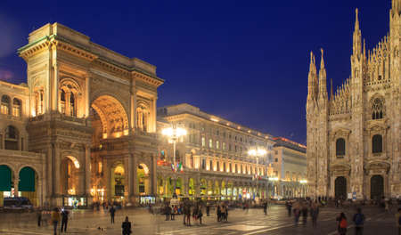 Nightview of Vittorio Emanuele II gallery and the cathedral in Piazza Duomo, Milan, Italy