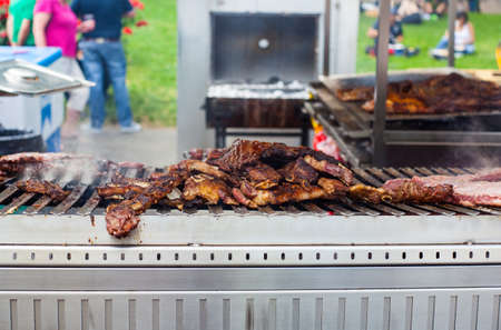 pic nic: View of delicious grilled meat in the outdoor  Stock Photo