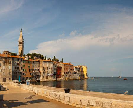 wetting: View of Rovinj little city in Istria, Croatia Stock Photo